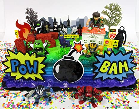 Ben and Friends Birthday Cake Topper Set Featuring Ben /& Random Friends Figures and Decorative Themed Accessories