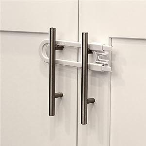 Child Safety Sliding Cabinet Locks (12 Pack) - Baby Proof Knobs, Handles, Doors - U Shape Sliding Safety Latch Lock - Jool Baby