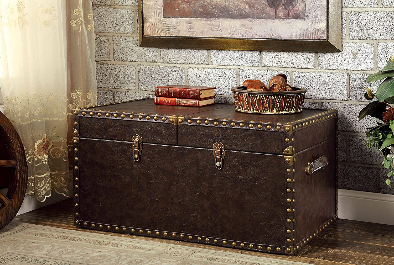 Furniture of America Tesoro Storage Trunk, Antique Brown