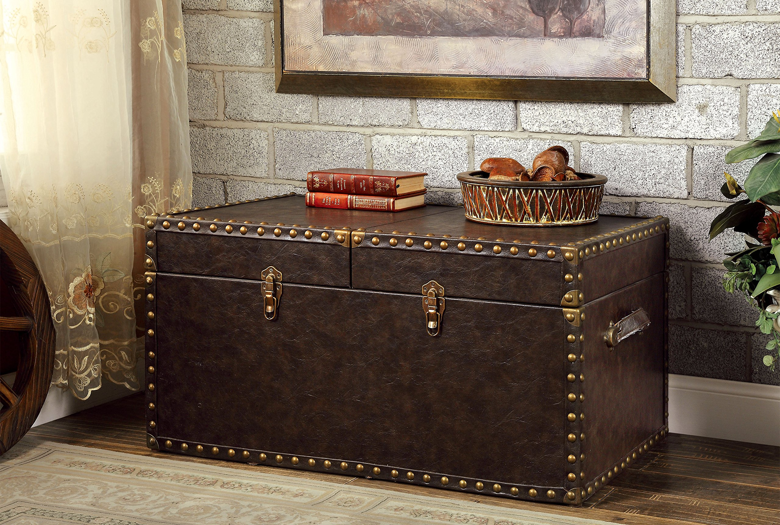 Furniture of America Tesoro Antique Style Storage Trunk, Antique Brown by Furniture of America