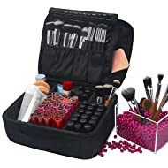 Portable Traveling Makeup Train Case with Adjustable Dividers