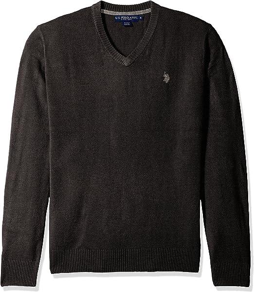 U.S. Polo Assn. Hombres Manga Larga Suéter Polo - Gris -: Amazon ...