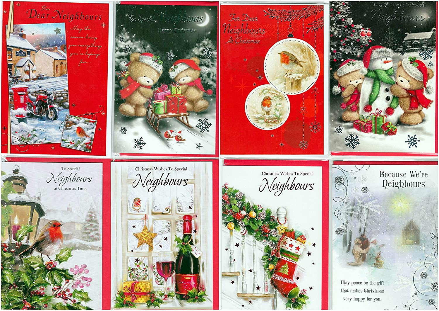 Greetingles Pack Of 12 Tofor Neighbours At Christmas Cards