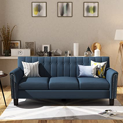 Amazon.com: Jasmine Traditional Navy Blue Fabric 3 Seater Sofa ...