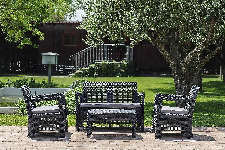 Keter - Conjunto de jardin de 4 plazas Tarifa Lounge con cojines incluidos, Color grafito
