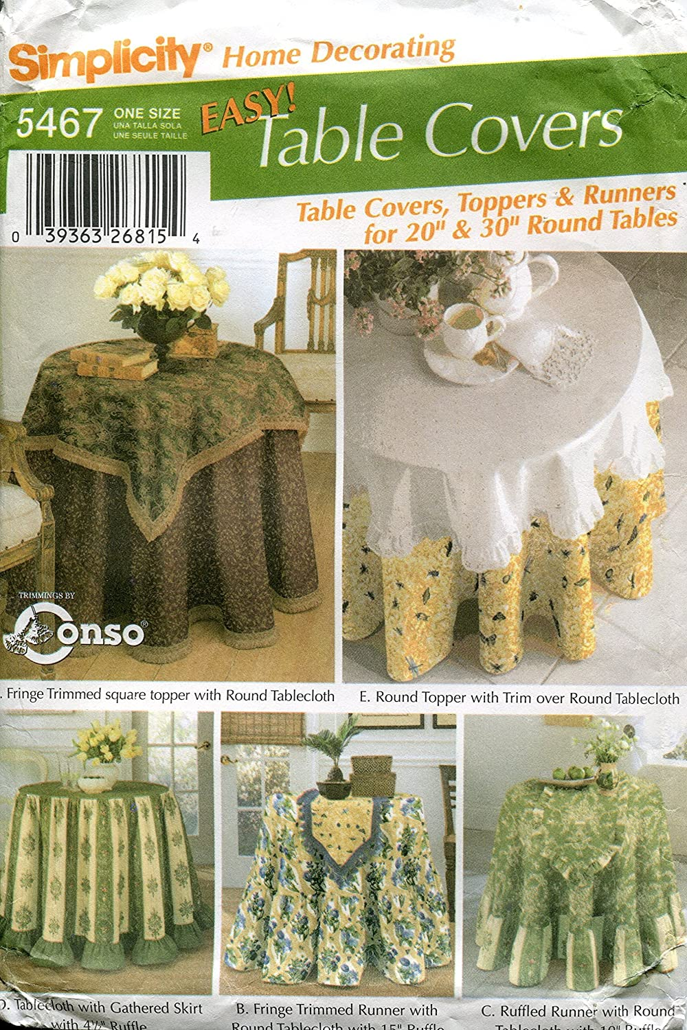 Amazon Com Simplicity Home Pattern 5467 Easy Round Table Covers Arts Crafts Sewing