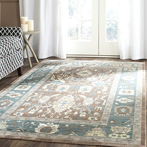 Safavieh Valencia Collection VAL122B Chocolate and Alpine Vintage Distressed Silky Polyester Area Rug 9 x 12