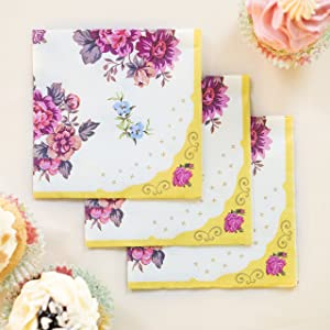 Talking Tables Tea Party Floral Napkins   Truly Scrumptious   Also Great For Birthday Party, Baby Shower, Wedding And Anniversary   Paper, 30 Pack