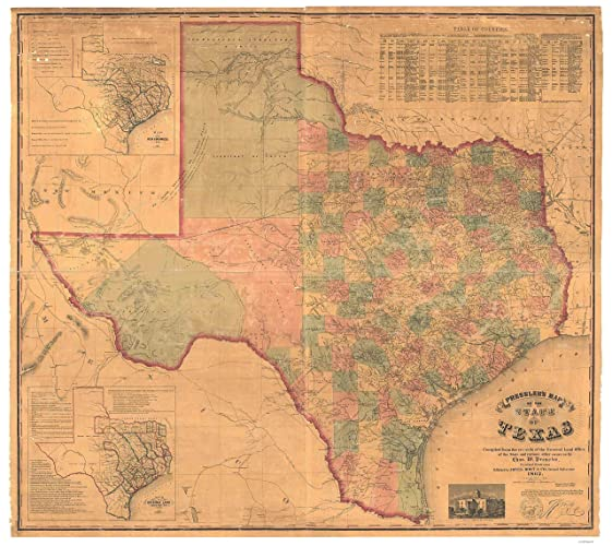 Map Of Texas Railroads.Amazon Com Texas 1862 State Map Pressler Railroads Reprint