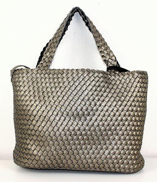 b88d7a17e626a Limited-Colors Damen Shopper Handtasche TIMEA Lederlook Flechtoptik Bag in Bag  Wendetasche(Schwarz)  Amazon.de  Schuhe   Handtaschen