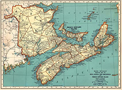 Amazon Com 1939 Antique Maritime Provinces Map Original