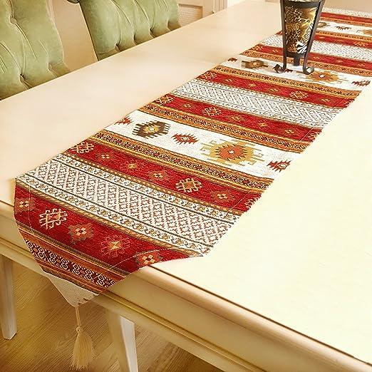 Camino de mesa de lujo de Anatolia serie, Rojo Blanco, (228x37 cm ...