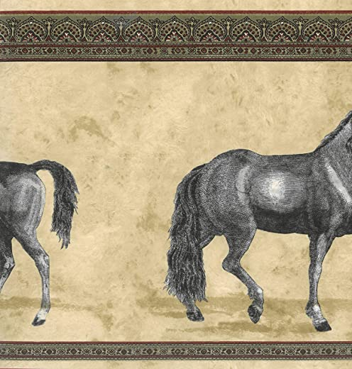 Dundee Deco BD6030 Prepasted Wallpaper Border - Animal Beige, Green, Maroon Horses Wall Border Retro Design, 15 ft x 10.24 in (4.57m x 26.01cm)