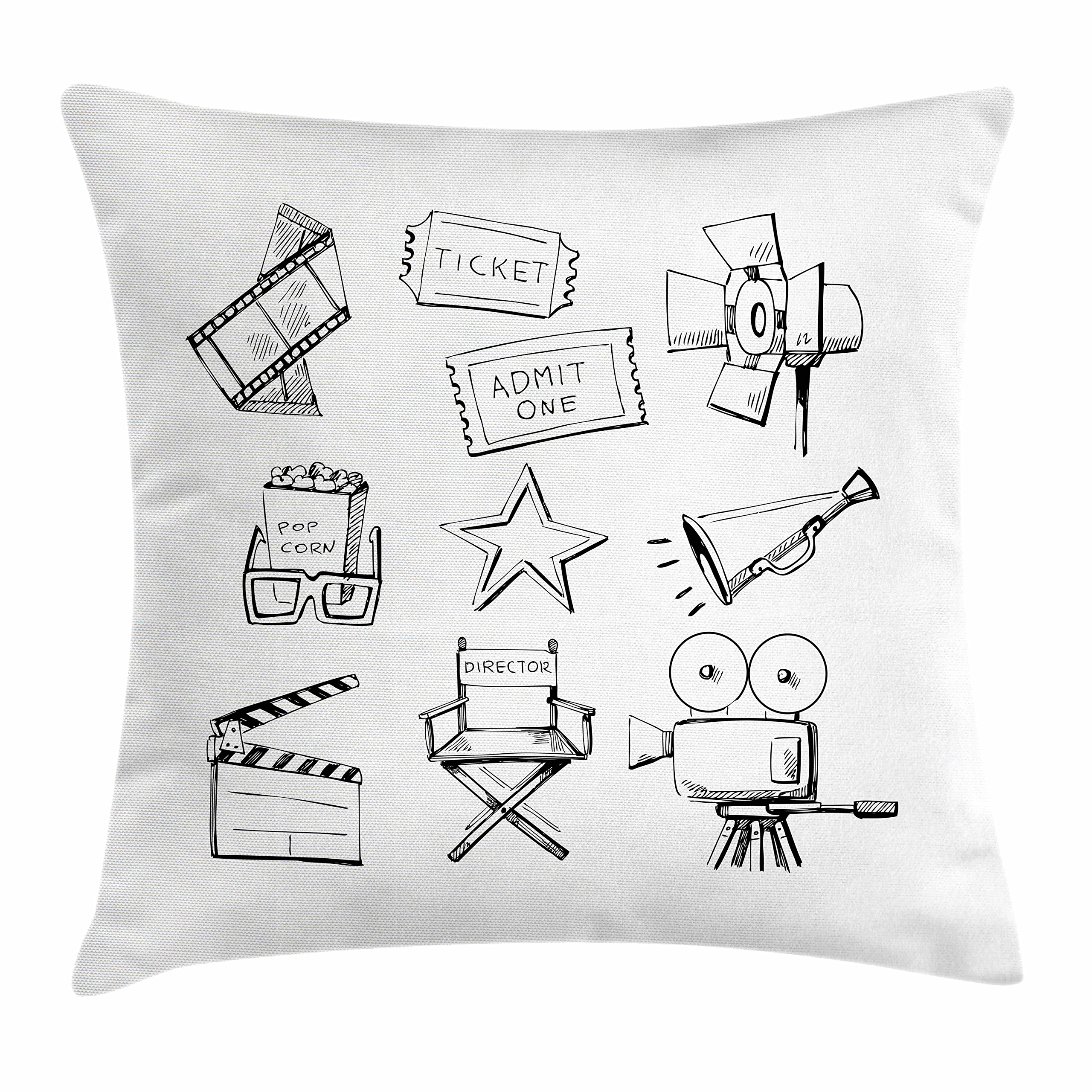 Ambesonne Movie Theater Throw Pillow Cushion Cover, Sketchy Movie Icon Set in Black and White Entertainment Industry Media TV, Decorative Square Accent Pillow Case, 24 X 24 inches, Black White