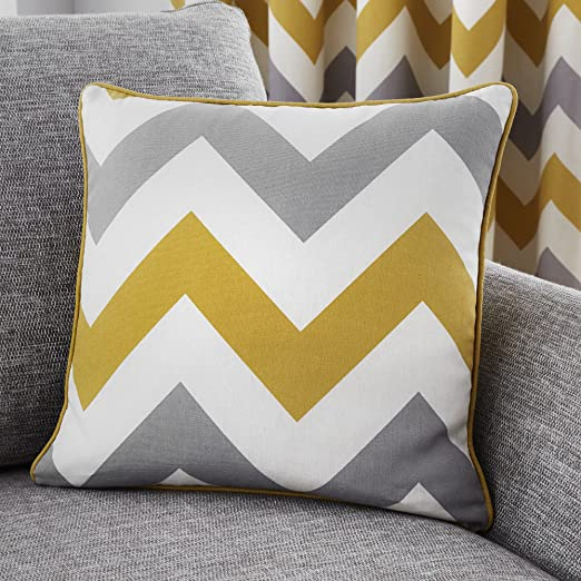 Fusion Home Furnishings Chevron Funda de cojín, algodón, Ocre, Cushion Cover: 43 x 43cm: Amazon.es: Hogar