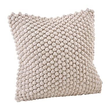 SARO LIFESTYLE 3519.I20S Crochet Pompom Down Filled Pillow, Ivory, 20