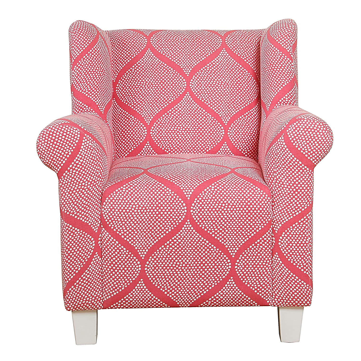 HomePop K6864-F1538 Juvenile Medallion Print Chair Childrens Furniture Pink and White