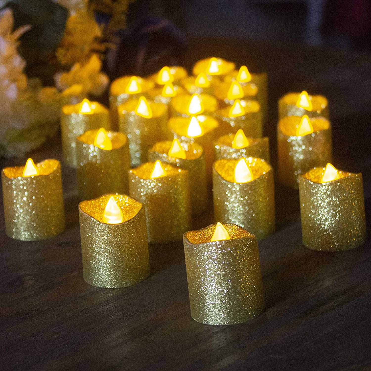 Dollhouse Artisan Flickering Battery Lighting Christmas Candle Gold TL Miniature