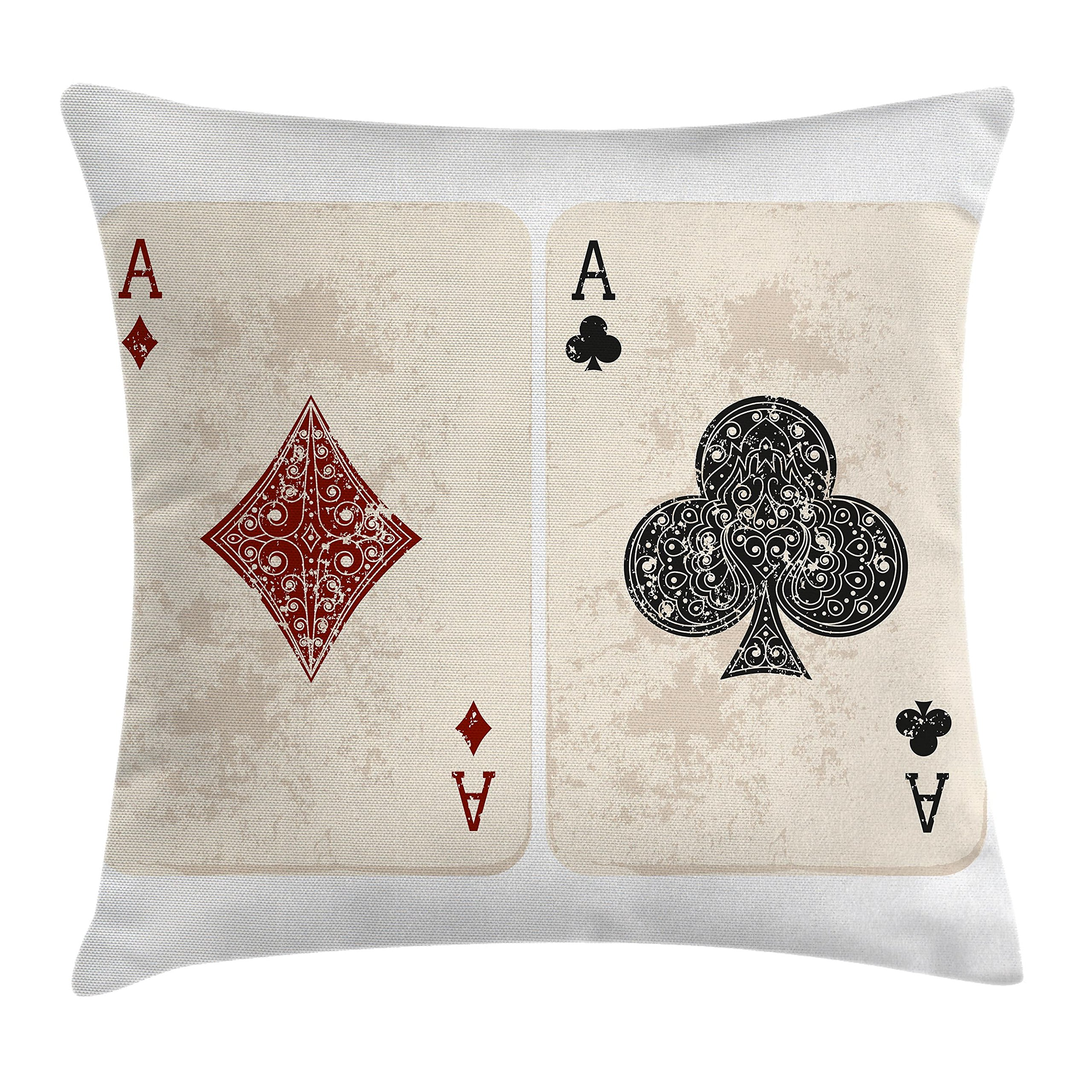 Ambesonne Lifestyle Decor Throw Pillow Cushion Cover by, Ace of Diamonds Clubs Poker Cards Game Grunge Gambling Fortune Illustration, Decorative Square Accent Pillow Case, 18 X 18 Inches, Cream Red