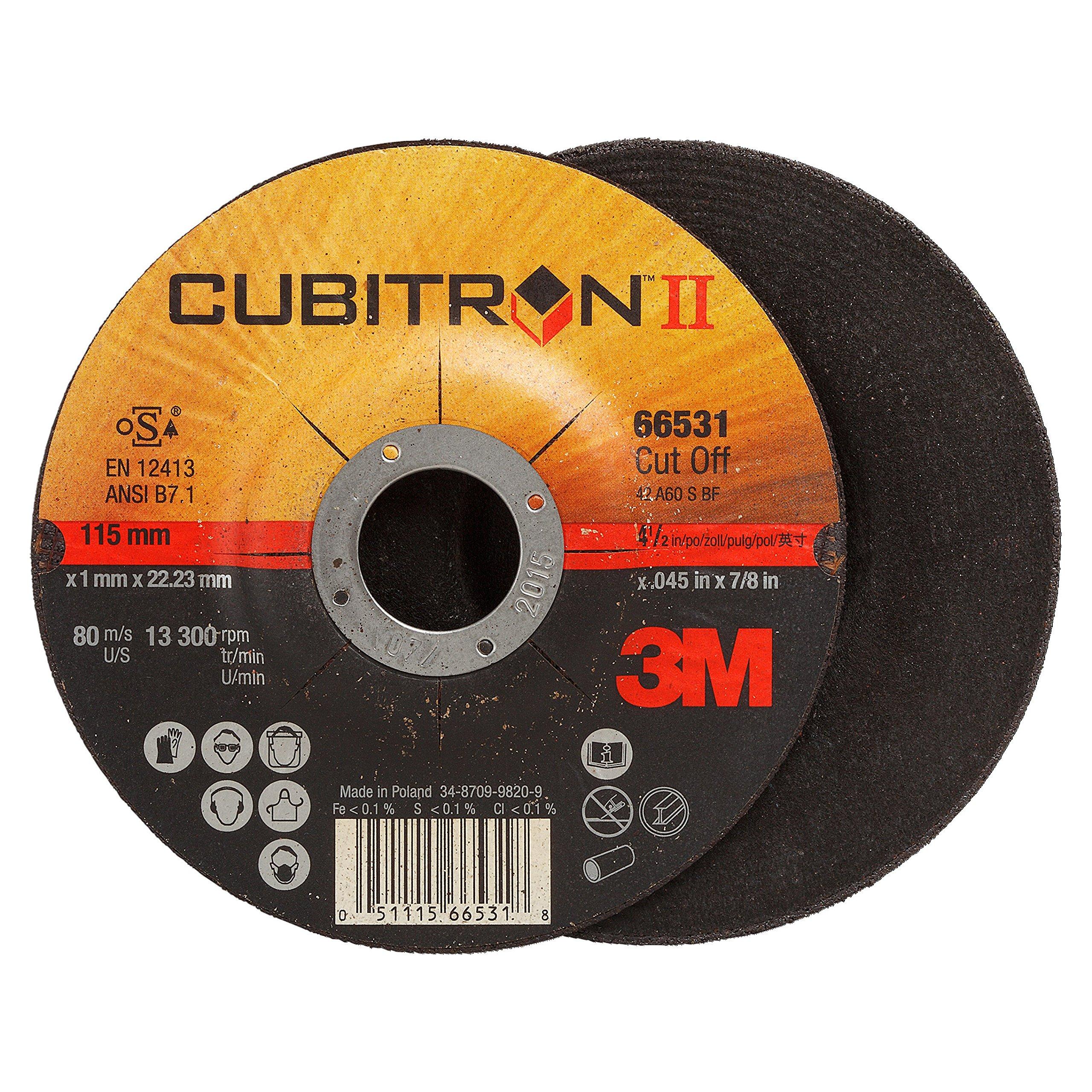 3M Cubitron II Cut-Off Wheel T27, Ceramic Grain, 4-1/2'' Diameter x 0.045'' Width, 60 Grit, 7/8'' Center Hole Diameter (Pack of 25)