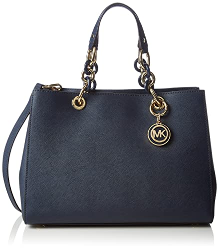 4ee72d5d59465 Michael Kors Cynthia Medium Leather Satchel in Navy Blue  Handbags ...