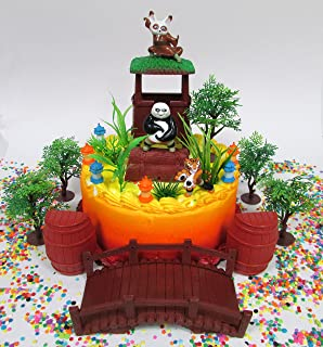 Kung Fu Panda Birthday Cake Topper Set Featuring Figures And Decorative Themed Accessories