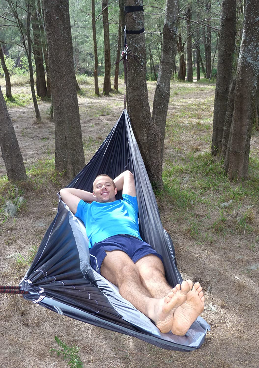 Unique Asymmetrical Design Creates An Amazingly Flat and Insulated Camping Hammock Hammock Bliss Sky Bed Sleeps Like A Bed Integrated Suspension 100 // 250 cm Rope Per Side Hangs Like A Hammock