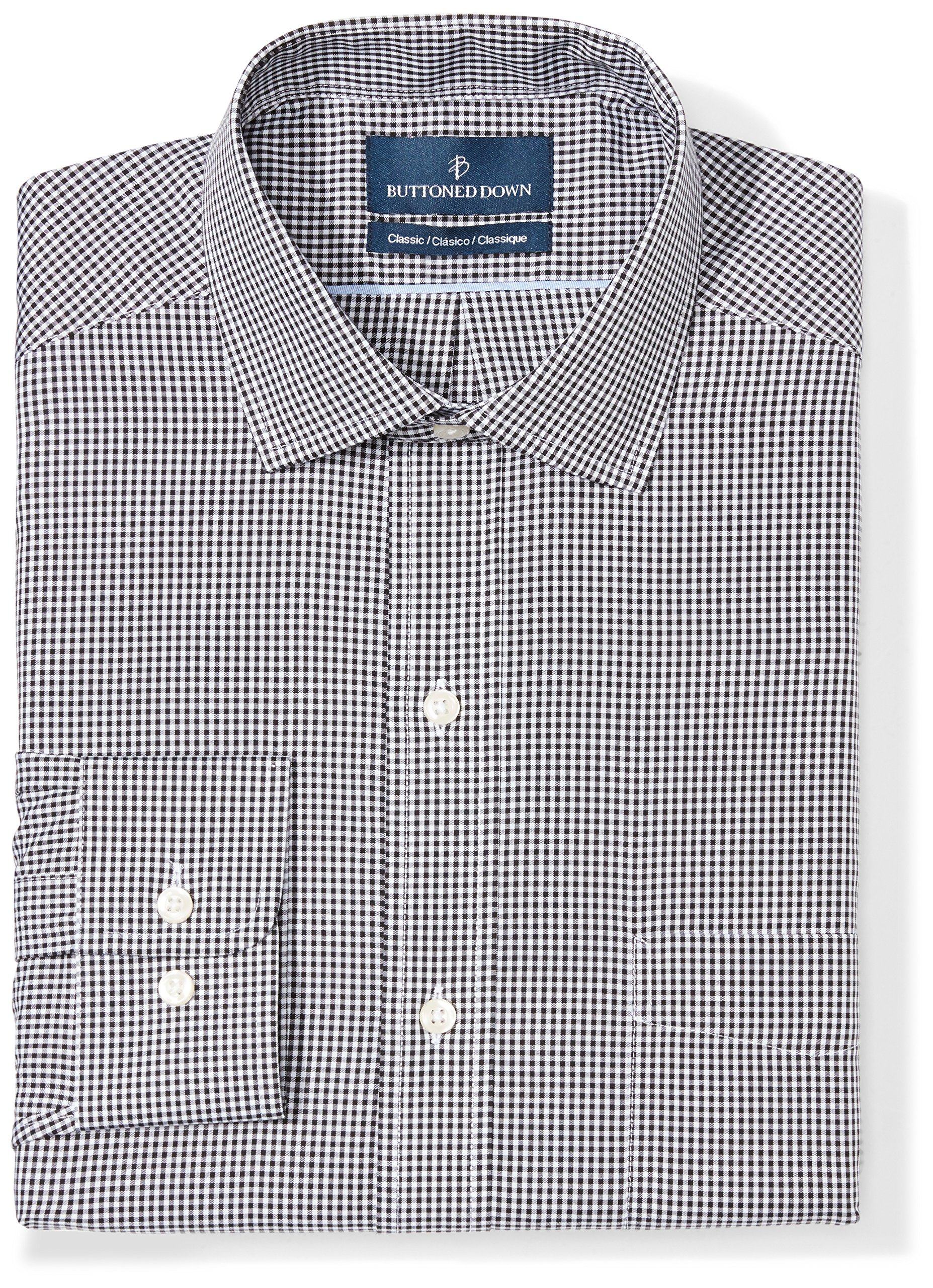 Buttoned Down Men's Classic Fit Spread-Collar Pattern Non-Iron Dress Shirt, Black Small Gingham, 19'' Neck 37'' Sleeve (Big and Tall) by Buttoned Down