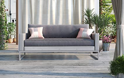 Elle Decor ODSO10008A Tropez Outdoor Collection Loveseat, Gray