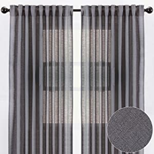 Chanasya 2-Panel Faux Belgian Flax Textured Semi Sheer Curtains - for Windows Living Room Bedroom Patio - Partial See Through Elegant Drapes for Privacy and Home Decor 52 x 96 Inches Long - Dark Gray