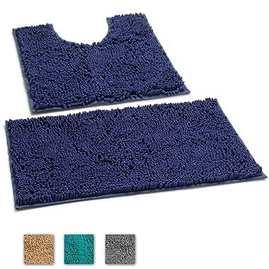 LuxUrux 2 Piece Bath Mat Set –Extra-Soft Plush Bath Shower Bathroom Rug + U-Shaped Toilet Mat. 1'' Chenille Microfiber Material, TPR Surface, Super Absorbent. Machine Wash & Dry (Dark Blue)