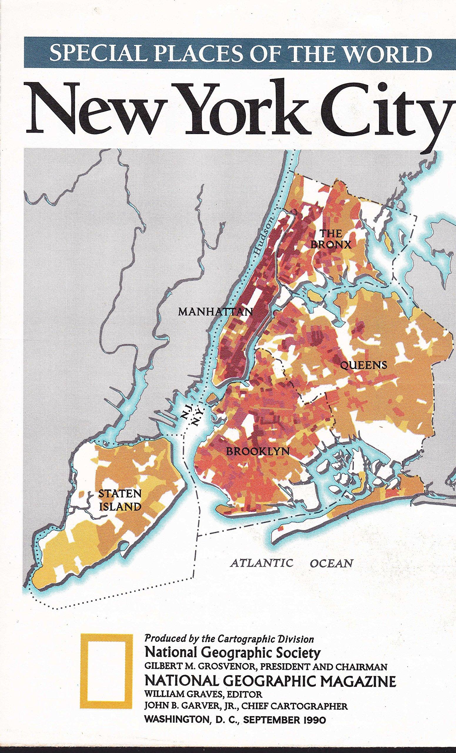 Washington Map Society.Nationa Geographic Society Map New York City September 1990