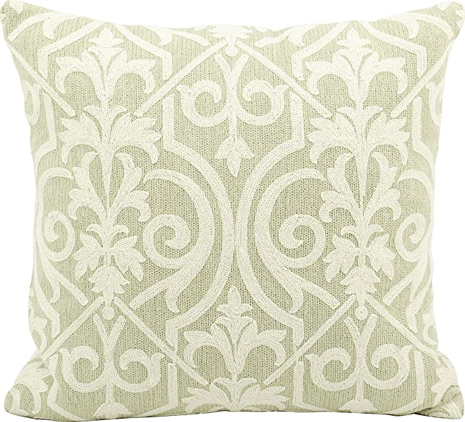 Nourison Mina Victory Mina Victory Q5115 Light Green Decorative Pillow, 18