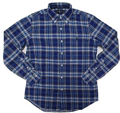 Polo Ralph Lauren Mens Longsleeve Plaid Shirt, ROYAL / NAVY (S)