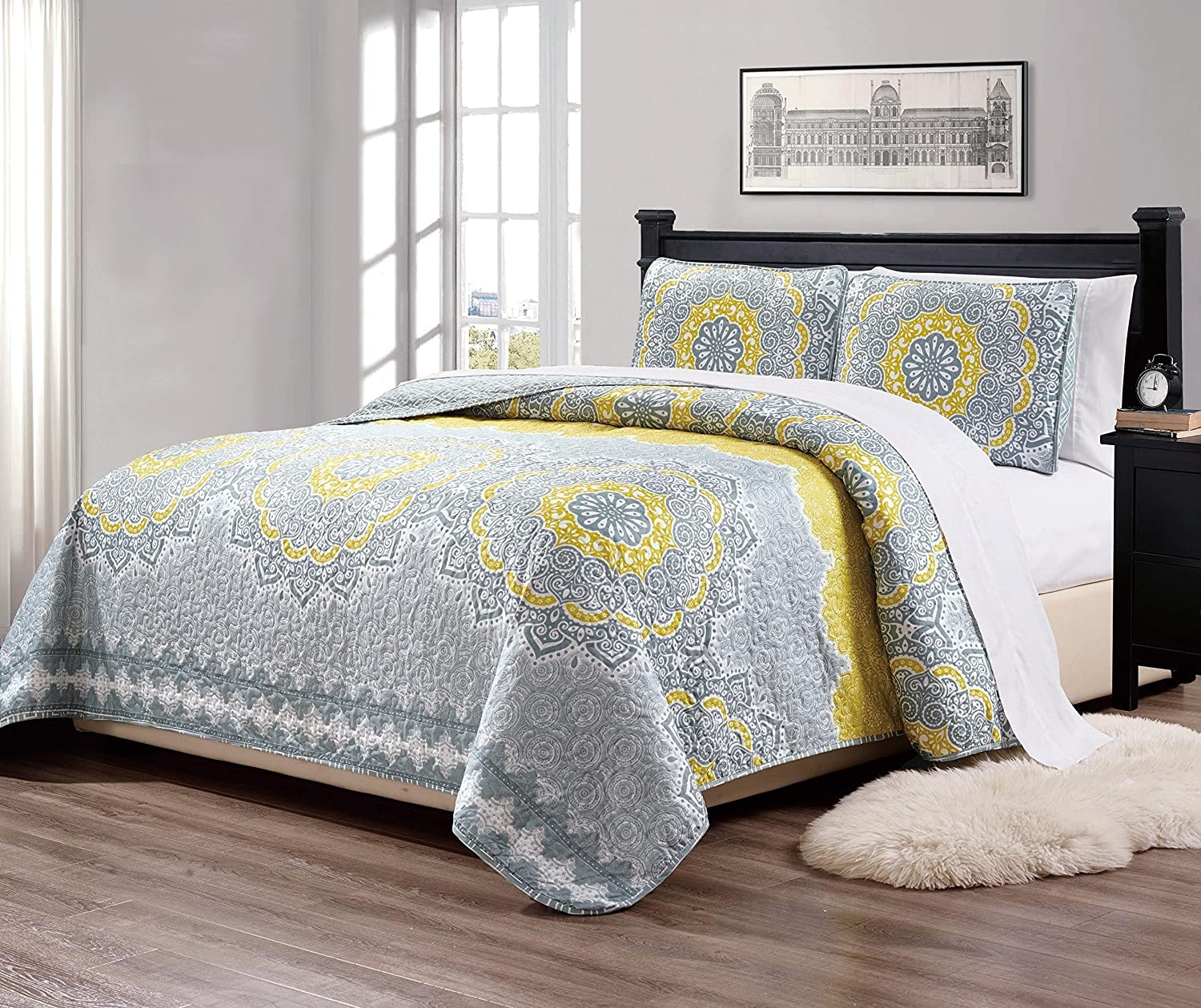 "Mk Collection 3pc King/California King Bedspread Quilt Over Size 118"" X 95"" Yellow Coastal Plain Grey Green White Elegant Design # Oslo Yellow"