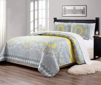California King Quilts And Bedspreads.Mk Home Mk Collection 3pc King California King Bedspread Quilt Over Size 118 X 95 Yellow Coastal Plain Grey Green White Elegant Design Oslo Yellow