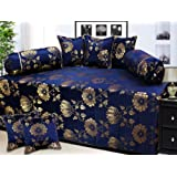 Milan Polycotton and Silk 8 Piece Diwan Set, Blue and Gold