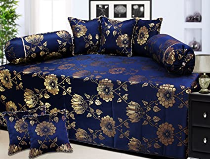 Milan Francesco Slive Polycotton and Silk 8 Piece Diwan Set, 650 TC, Dark Blue and Gold