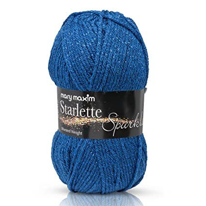 """Mary Maxim Starlette Sparkle Yarn """"Royal"""" 