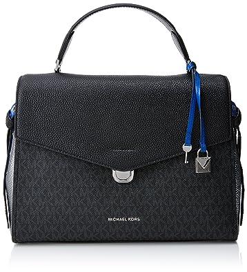 a1548cd27d1a Michael Kors Womens Lenox Satchel Black (Blk Pwt Elbl)  Handbags  Amazon.com