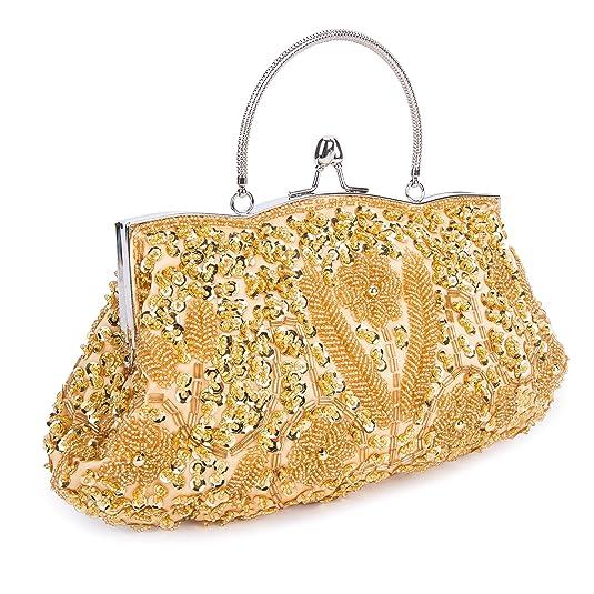 Kisschic Bolso de Clutch Bolso de Fiesta Boda Carteras de mano y clutches(dorado): Amazon.es: Zapatos y complementos