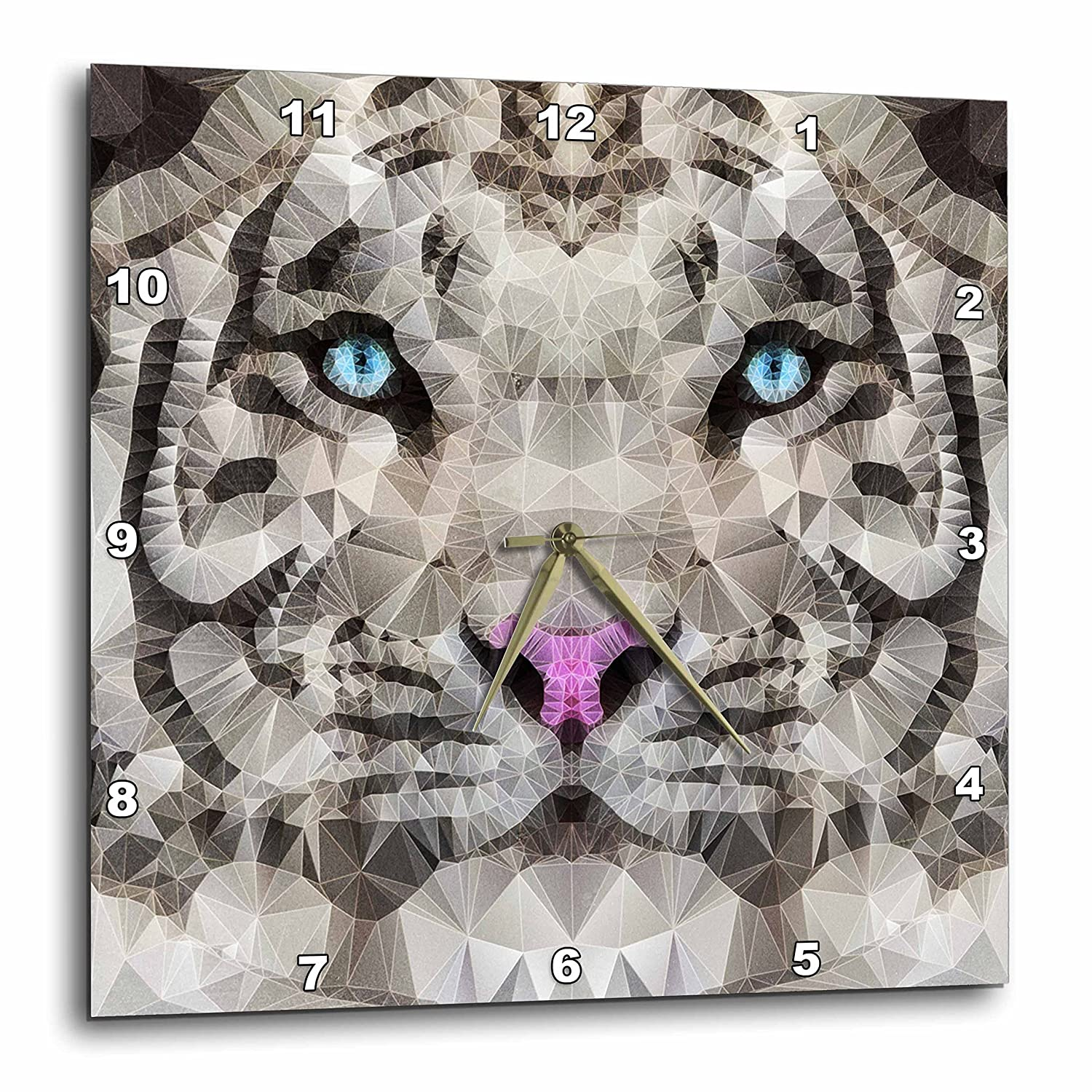 3dRose DPP_201666_3 Abstract White Tiger Wall Clock, 15 by 15'