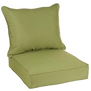 Mozaic AZPC4962 Indoor or Outdoor Sunbrella Deep Seating Cushion & Pillow Set with Corded Edges, 25 x 23 x 5, Cilantro Green