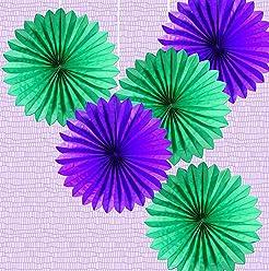 EinsSein 5er Mix Dekofächer Jadetraum Papierfächer Papierblume Pom Poms Papierrosette Dekoration