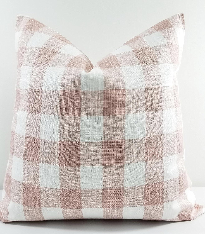 Blush Pink and white pillow cover  Buffalo Plaid print  Sham cover
