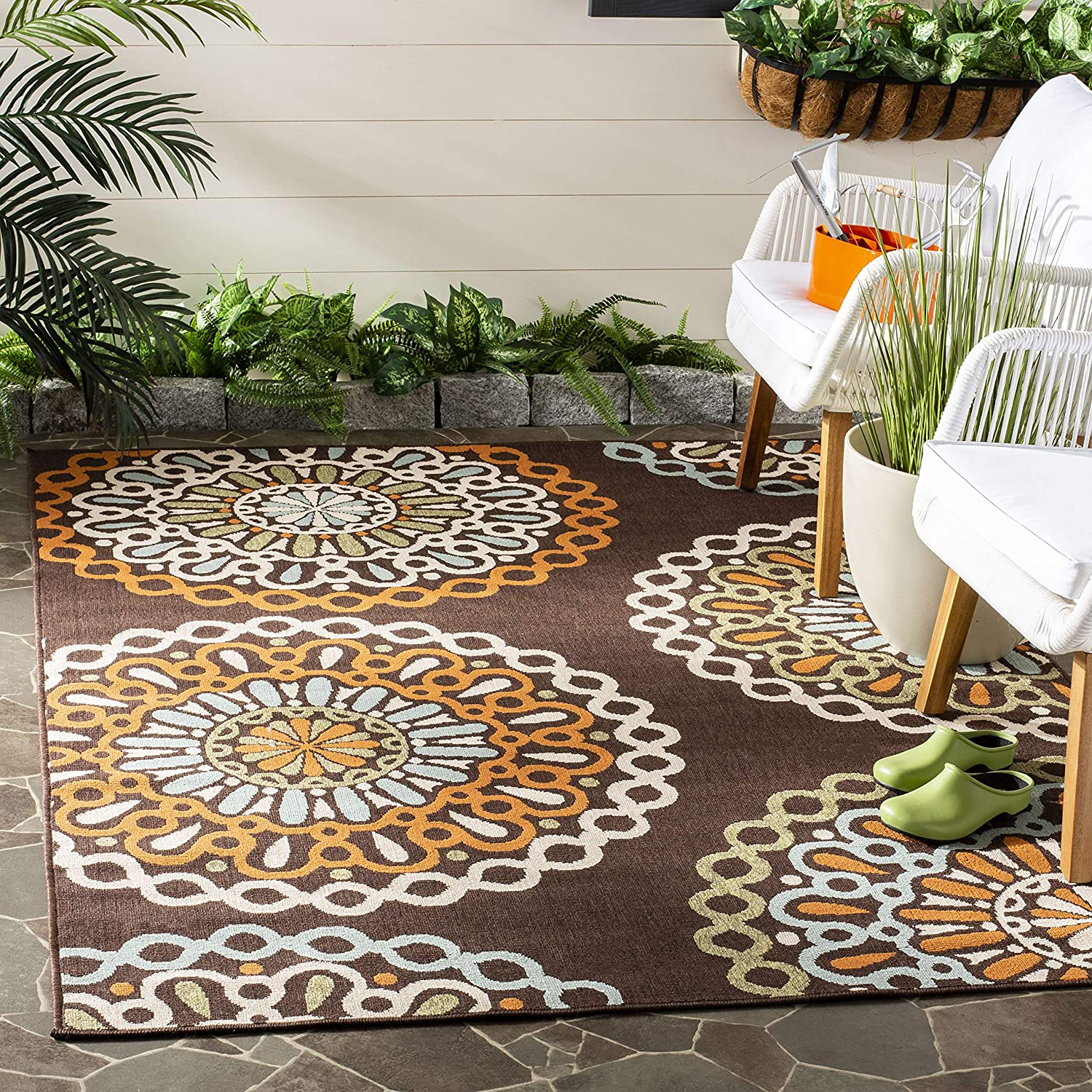 Area Rugs Home Kitchen Safavieh Veranda Collection Ver092 0625 Indoor Outdoor Chocolate And Blue Contemporary Runner 23 X 8