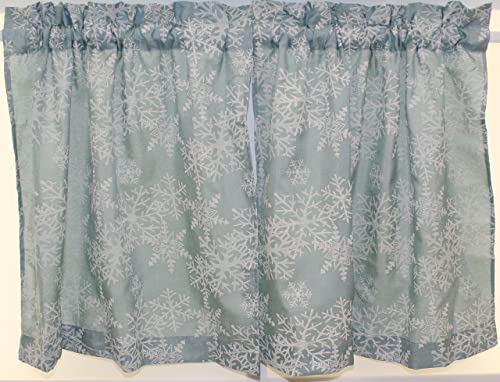 The Curtain Shop Snowflake Puff 56Wx36L Tier Pair-Frosty Blue
