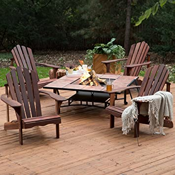 Outdoor Fire Pit Chat Funiture Set Richmond 4 Deluxe Adirondack Chair Great  Backyard Set