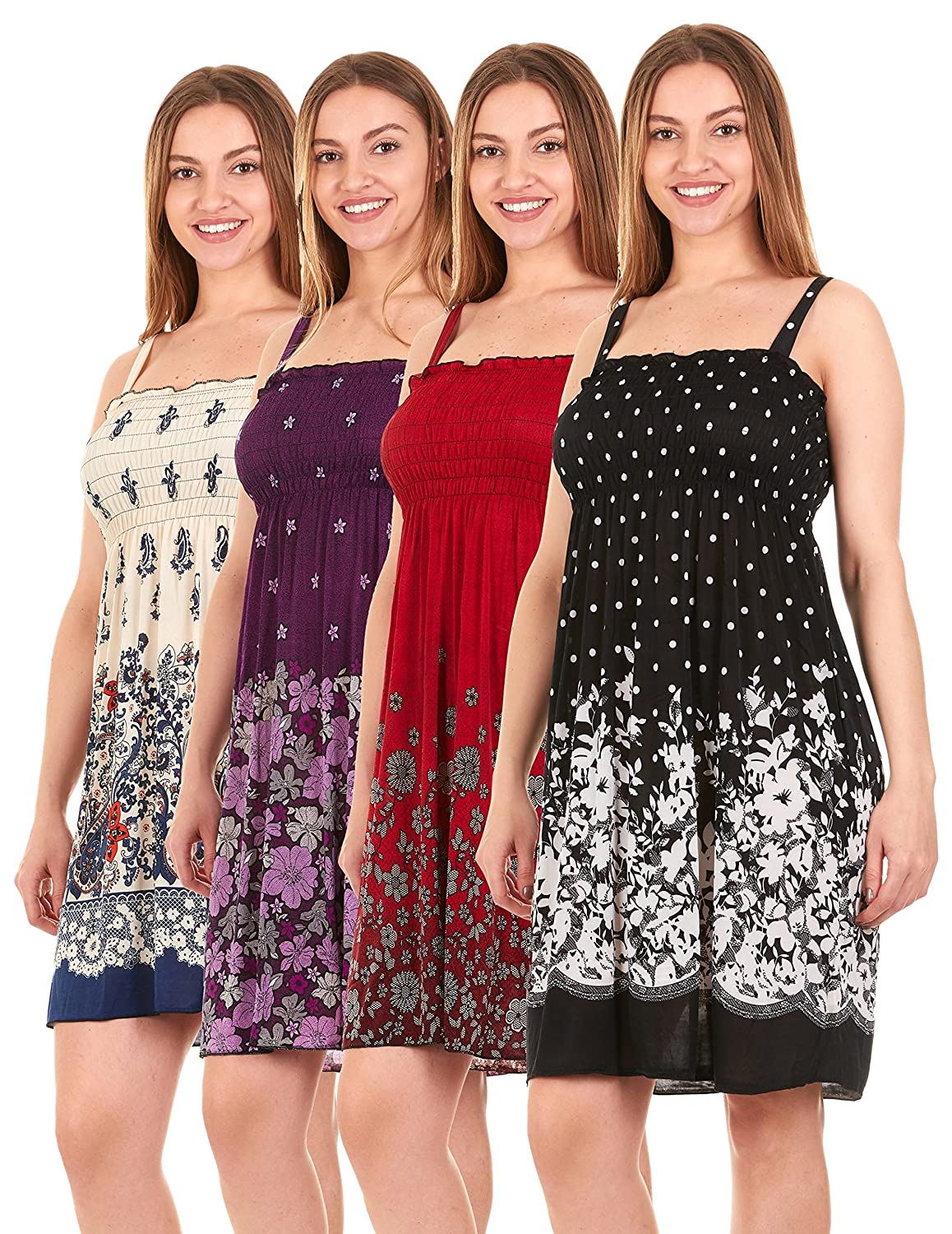 f50c0b85c036 The 4 Pack assorted option consists of randomly chosen prints. Material  Content  100% Polyester Casual dresses for ...