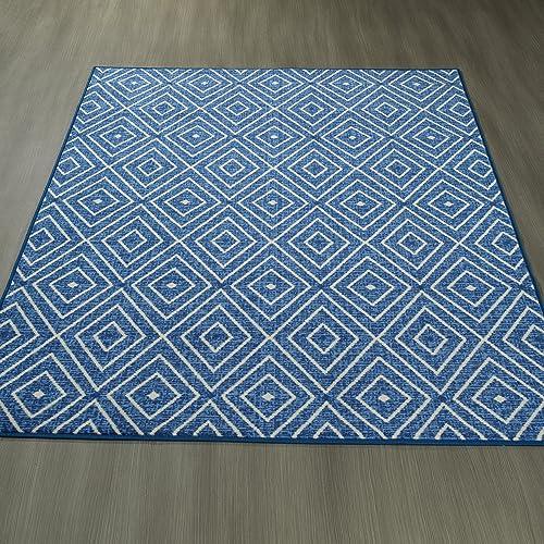 Ottomanson Studio Collection Diamonds Design Area Rug, 8 2 X 9 10 , Blue